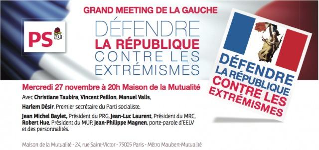 """""""Défendre la République contre les extrémismes"""" à la Mutualité le 27 novembre à 20h"""